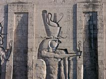 Edfu Temple, Egypt. Fragment of the bas-relief at the Edfu Temple, Egypt Royalty Free Stock Photo
