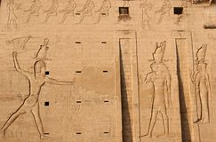 Edfu Temple Pylon Relief in Egypt Royalty Free Stock Image