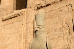 Edfu Temple in Egypt. The Edfu temple ruins in Egypt by the River Nile Stock Photos