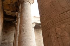 Edfu Temple in Egypt. The Edfu temple ruins in Egypt by the River Nile Stock Images