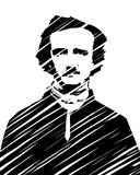 Edgar Allan Poe. High quality vector illustration portrait of the american author and poet Edgar Allan Poe - hand drawn scribble style technique isolated on Royalty Free Stock Photo