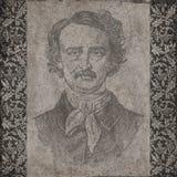 Edgar Allan Poe kolażu tła tekstura Makabryczny got - Halloween - Scrapbooking - Antykwarska Kwiecista granica - ilustracji