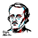 Edgar Allan Poe Portrait stock illustratie