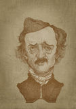 Edgar Allan Poe sepia portrait engraving style. Edgar Alan Poe sepia portrait engraving style for editorial use Stock Photos