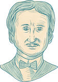 Edgar Allan Poe Writer Drawing. Drawing sketch style illustration of Edgar Allan Poe, an American writer, editor, poet and literary critic viewed from the front Royalty Free Stock Photos