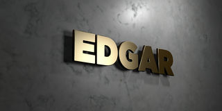 Edgar - Gold sign mounted on glossy marble wall  - 3D rendered royalty free stock illustration. This image can be used for an online website banner ad or a Royalty Free Stock Photography