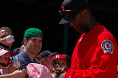 Edgar Renteria signs autographs for fans. Royalty Free Stock Photo