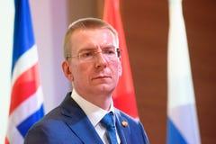 Edgars Rinkevics, minister Cudzoziemski - sprawy Latvia zdjęcia stock