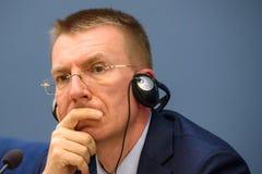 Edgars Rinkevics, minister Cudzoziemski - sprawy Latvia spotkanie z Jacek Czaputowicz minister spraw zagranicznych Polska zdjęcie stock