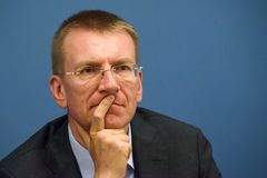 Edgars Rinkevics, ministro degli affari esteri della Lettonia immagini stock