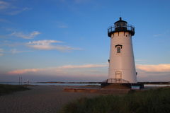 Edgartown lighthouse. Edgartown white lighthouse at sunset Stock Photography
