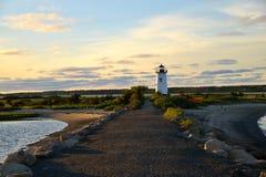 Edgartown, MA, Lighthouse. Edgartown Lighthouse, Marthas Vineyard, MA at sunset, june 2015 seen from afar Stock Photos