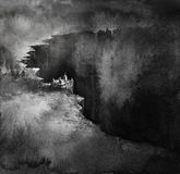 On the Edge. A little town on the edge of an abyss. Ink on paper Stock Photos
