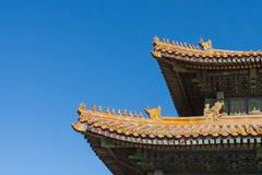 Edge ancient roofs in Beijing. Edge of the roofs in the Forbidden City that the nine animals indicate that buildings are Emperor Royalty Free Stock Photography