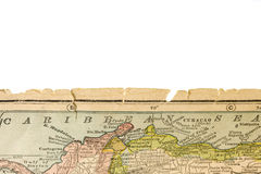 Edge of antique map printed in 1926 - Caribbean Se Stock Image