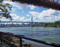 Edge of Astoria Park, East River & Bridges Stock Image