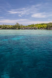 Edge of Barrier Reef. Corals grow in the shallows along the barrier reef in Palau, Micronesia. Coral reefs depend on clear, warm water and plenty of sunlight stock image
