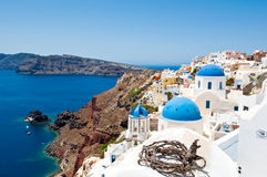 The edge of the caldera on the island of Santorini, Greece. Royalty Free Stock Images