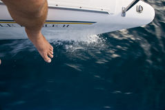 On the Edge of a Catamaran Royalty Free Stock Images