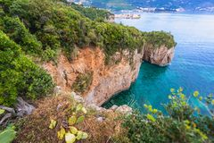 Cliff in Budva. On the edge of cliffs near Mogren Fortress in Budva, Montenegro Royalty Free Stock Images