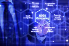 Edge computing hexagon grid with keywords from an IT expert Stock Images