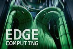 EDGE computing, internet and modern technology concept on modern server room background.  royalty free stock photo