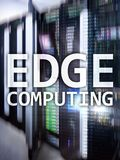 EDGE computing, internet and modern technology concept on modern server room background.  royalty free stock image