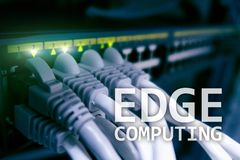 EDGE computing, internet and modern technology concept on modern server room background.  stock images