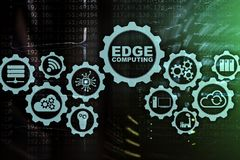 EDGE COMPUTING on modern server room background. Information technology and business concept for resource intensive distributed. Computing services