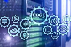 EDGE COMPUTING on modern server room background. Information technology and business concept for resource intensive distributed royalty free stock photography
