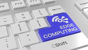 Edge computing white keyboard with wireless network symbol Stock Image