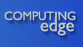 Edge computing white word on a gradient blue wall. Edge computing 3D illustration white word on a gradient blue wall Stock Image