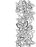 Edge of contour of roses and butterflies Stock Photos