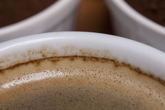 The edge of the cup of coffee Stock Images