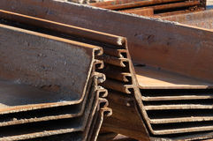 Edge detail of steel piling. Stock Photography