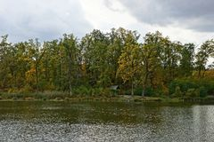 Part of a pond and an island with an arbor and tall trees. Edge of the forest with a gazebo by the lake Stock Images