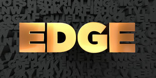 Edge - Gold text on black background - 3D rendered royalty free stock picture Stock Photography