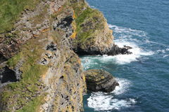 The edge of the ireland, cliffs. Cliffs scenery at the end of irish summer, southern ireland Stock Photography