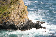 The edge of the ireland, cliffs. Cliffs scenery at the end of irish summer, southern ireland Royalty Free Stock Photo