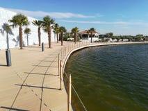 The edge of lake at Balotesti Therme. Romania - palm trees royalty free stock photo