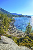 Edge of Lake Tahoe. A corner of Lake Tahoe taken in late winter from a lookout point high above water level Royalty Free Stock Photo