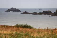 Edge of the land in the north of French Brittany Pointe du Grouin. royalty free stock photo