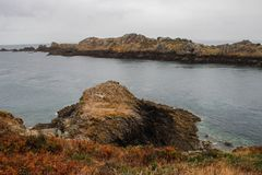 Edge of the land in the north of French Brittany Pointe du Grouin. royalty free stock photography