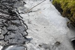 Edge of melting ice by the stream. royalty free stock photography
