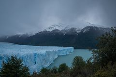 Edge of melting of Patagonian glacier stock photo