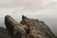 Edge of the mouth of the volcano Sibayak, Sumatra Royalty Free Stock Image