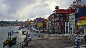 The edge of Oporto Ribeira in the evening, Portugal Stock Photo