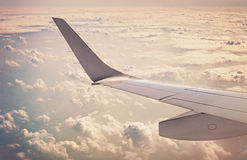 Edge of the passenger airplane's wing Stock Images