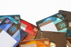 Edge of a Pile of Blank Colorful Audio MiniDiscs Close-Up Stock Image