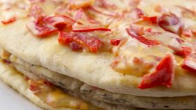 Edge of pizza, rotating stock footage